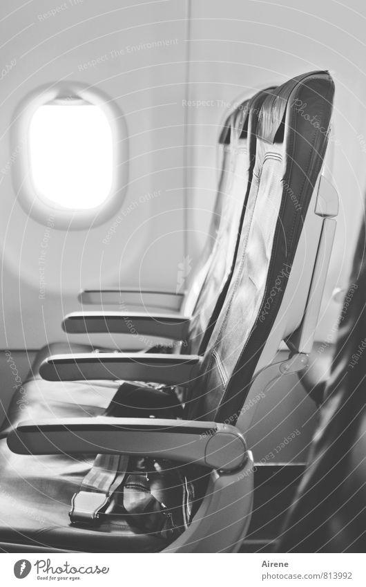 last minute Ferien & Urlaub & Reisen Tourismus Verkehr Verkehrsmittel Luftverkehr Flugzeug Passagierflugzeug im Flugzeug fliegen warten frei kalt grau schwarz