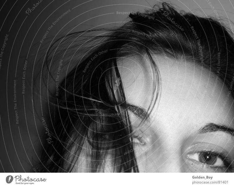 Heiße Locke Frau Gesicht Auge Haare & Frisuren Locken Stirn Junge Frau Grauwert Emanzipation