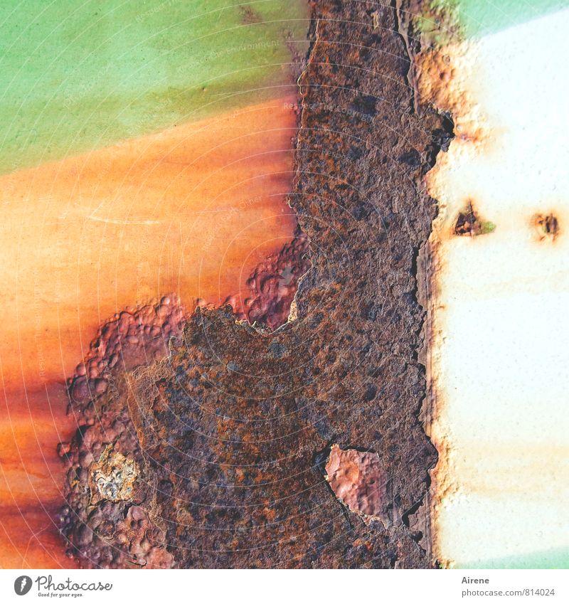 wenn der Lack ab ist Industrie Metall Rost alt braun grün orange Vergänglichkeit Zerstörung Oxidation mehrfarbig rostrot abblättern Container Metallbehälter