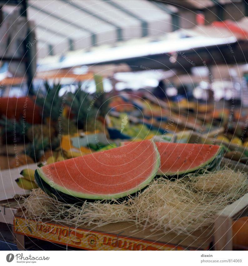 Markttag natürlich Gesundheit Lebensmittel Frucht frisch Ernährung süß lecker Duft Handel Markt saftig Vegetarische Ernährung Banane Melone Marktstand