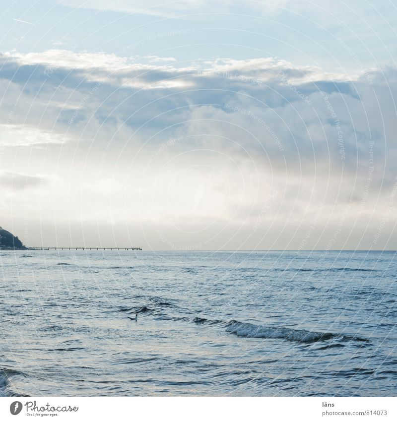 wolkenmeer Ferien & Urlaub & Reisen Tourismus Ausflug Freiheit Meer Insel Wellen Wasser Himmel Wolken Sommer Ostsee blau Sehnsucht Fernweh Beginn Horizont
