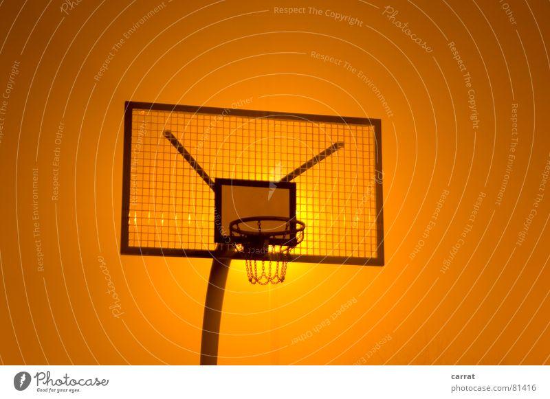First Gooooaaaal! ach nee rot Farbe gelb dunkel Sport Spielen Metall Stimmung hoch groß rund Ziel Ball silber Korb Basketball