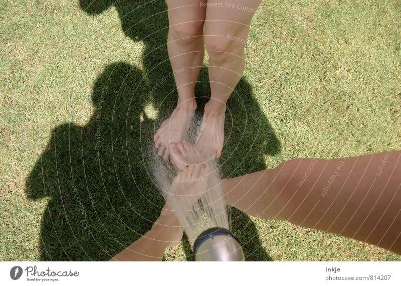 Sommer Mensch Kind Jugendliche Wasser Sommer Freude Erwachsene Leben Gefühle Gras Spielen Garten Beine Fuß Freundschaft Freizeit & Hobby