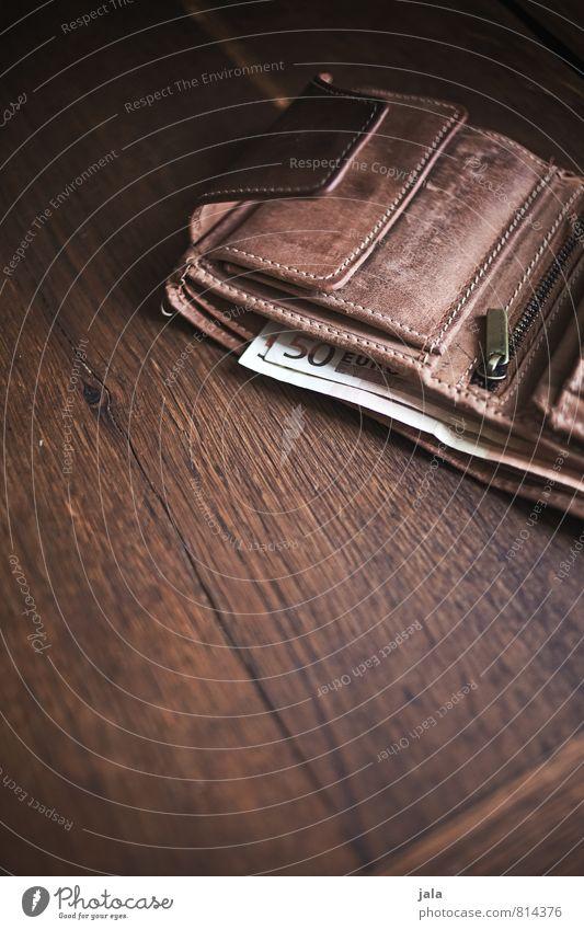 geldbeutel Geld Portemonnaie Geldscheine Euro Holz Leder ästhetisch Erfolg gut Holztisch Farbfoto Innenaufnahme Menschenleer Textfreiraum unten