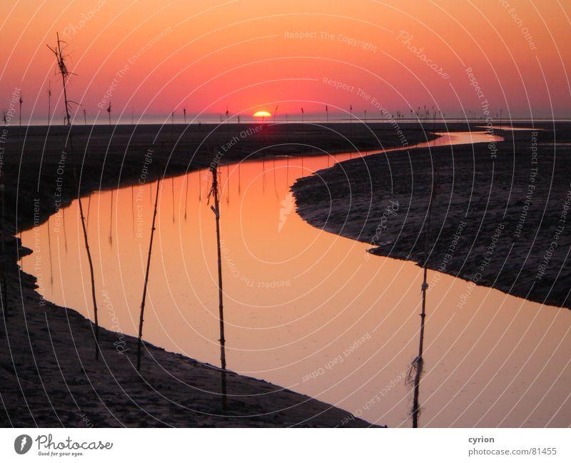 Nordsee-Impression Sonnenuntergang Stimmung Romantik Dämmerung Küste ruhig Einsamkeit Strand Wattenmeer