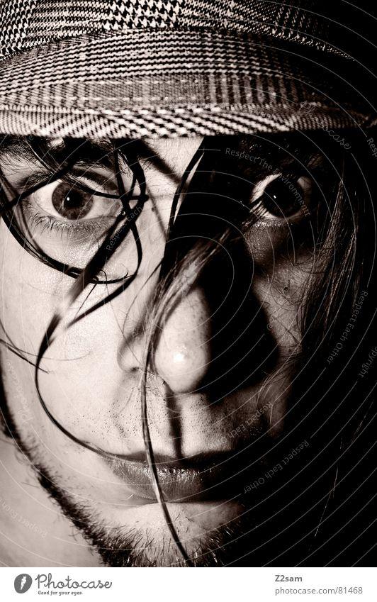 WOW Mensch Mann Gesicht Auge Haare & Frisuren Mund Angst Nase Bart Hut was staunen erschrecken Fragen
