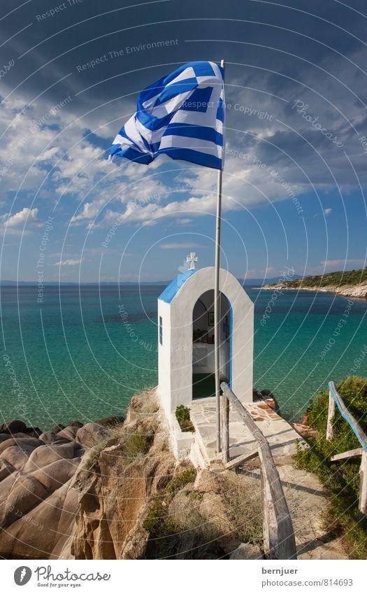 Irgendwann bleib I dann do Ferien & Urlaub & Reisen blau weiß Wasser Sommer Sonne Meer Wolken Strand Religion & Glaube Felsen Wetter Wind Tourismus Europa ästhetisch