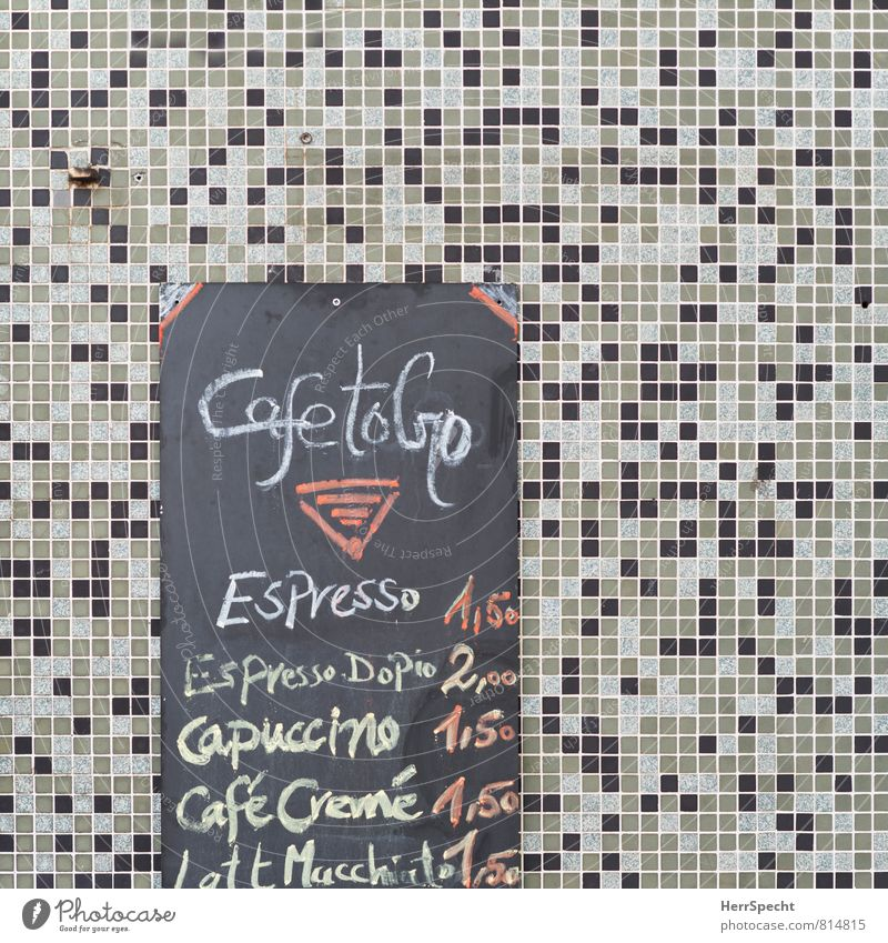 cafetogo Ferien & Urlaub & Reisen Stadt Wand Mauer grau Fassade Schilder & Markierungen Schriftzeichen retro Italien Getränk Kaffee Restaurant Café Bar Tafel