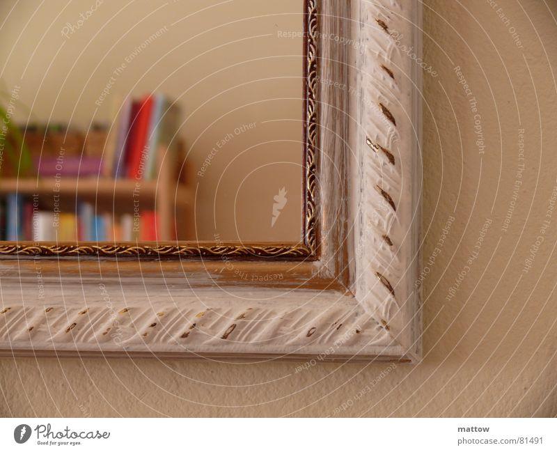 Bild im Bild Buch Bild Spiegel Rahmen Haushalt Bilderrahmen Selbstportrait Spiegelbild Regal Bücherregal