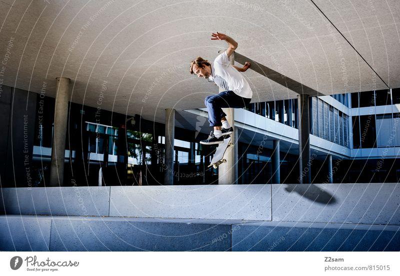 OLLIE Jugendliche Stadt 18-30 Jahre Junger Mann kalt Erwachsene Bewegung Architektur Sport Gebäude Stil springen Freizeit & Hobby maskulin Treppe Platz