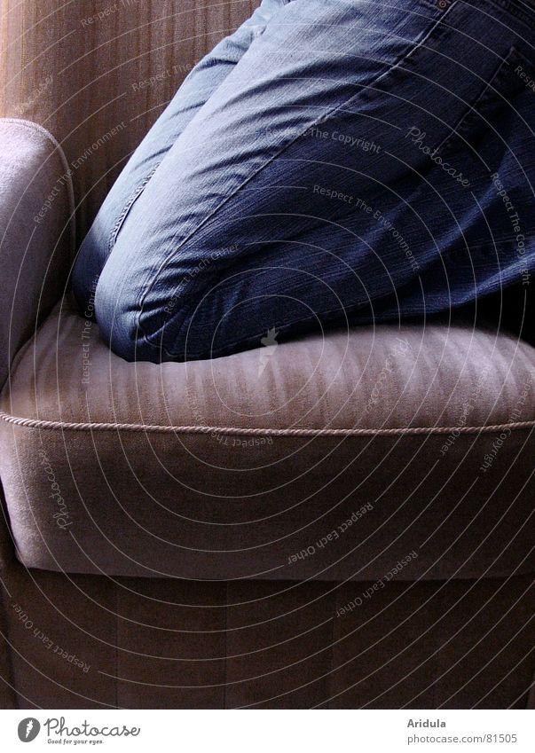 blaue nase Frau Mensch Beine glänzend sitzen Hose Stoff Konzentration Falte Möbel Jeansstoff Wohnzimmer sanft Material Sessel