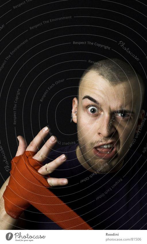 um den Finger wickeln Hand Gesicht Sport Erfolg Kreis rund Gesichtsausdruck Jahrmarkt Gewalt Sport-Training Sportler Ausdauer Grimasse Handschuhe Haken
