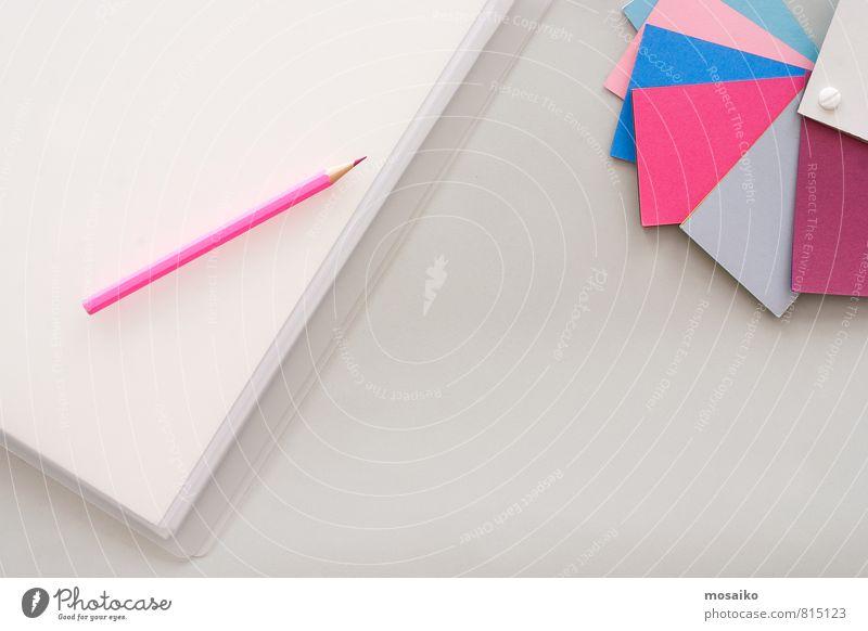 Schreibtisch grau Hintergrundbild Kunst rosa Arbeit & Erwerbstätigkeit Business Büro Zufriedenheit Tisch Sauberkeit Papier Idee einzigartig planen malen Kultur