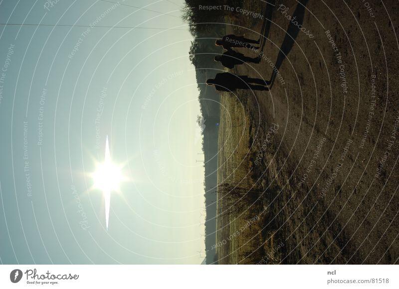 Eisige Kälte kalt Feld Fußweg 3 Baum Klarer Himmel Schlagschatten Winter unterwegs frisch verdunkeln Horizont Schatten Menschengruppe Sonne Spaziergang