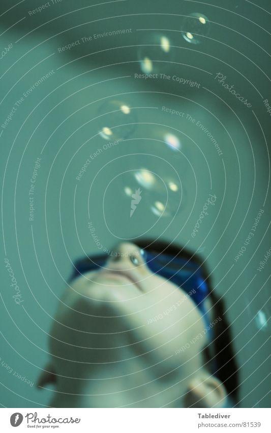Blubbern Frau Mädchen tauchen See Meer Schwimmbad Luft Schwimmbrille Spielen Wasser Unterwasseraufnahme blasen bubbles goggles Schwimmen & Baden