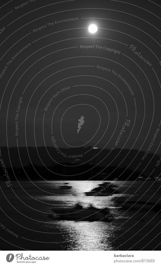 Alb|traum bei Vollmond Mensch Natur Luft Wasser Nachthimmel Mond See Bodensee Wasserfahrzeug fahren dunkel gruselig Gefühle Stimmung träumen Bewegung bizarr