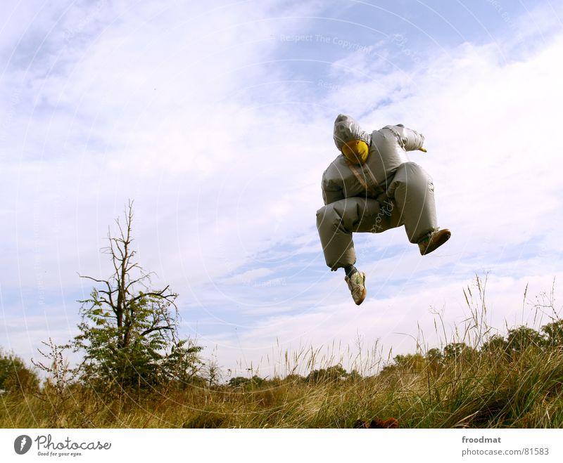 grau™ - aufgeblasen gelb grau-gelb Anzug rot Gummi Kunst dumm sinnlos ungefährlich verrückt lustig Freude springen dick Baum Wolken Kunsthandwerk aufgebläht