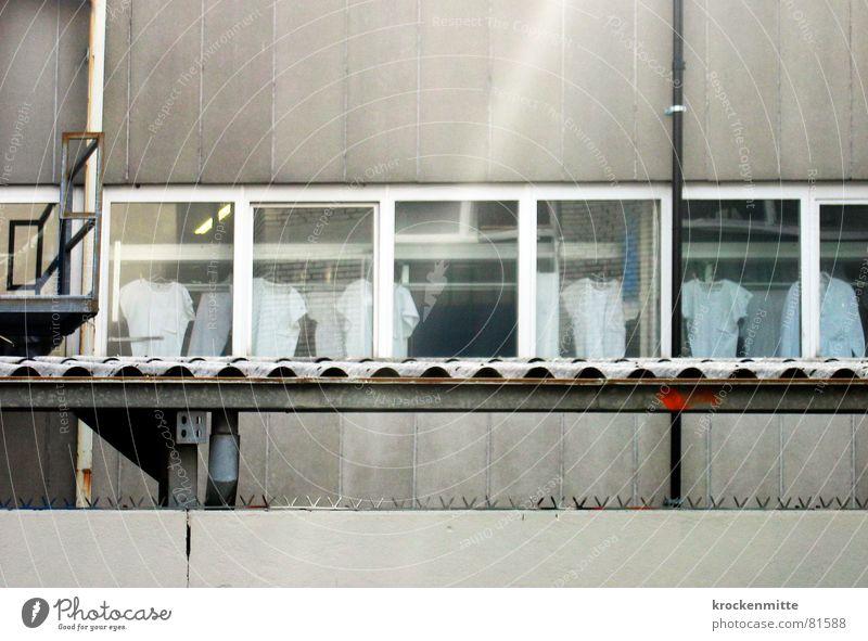 ... aus der Wäsche gucken Fenster Fassade Industrie mehrere T-Shirt Aussicht Fabrik Sauberkeit Reinigen Reihe Geister u. Gespenster Textilien trocknen aufhängen kopflos unsichtbar