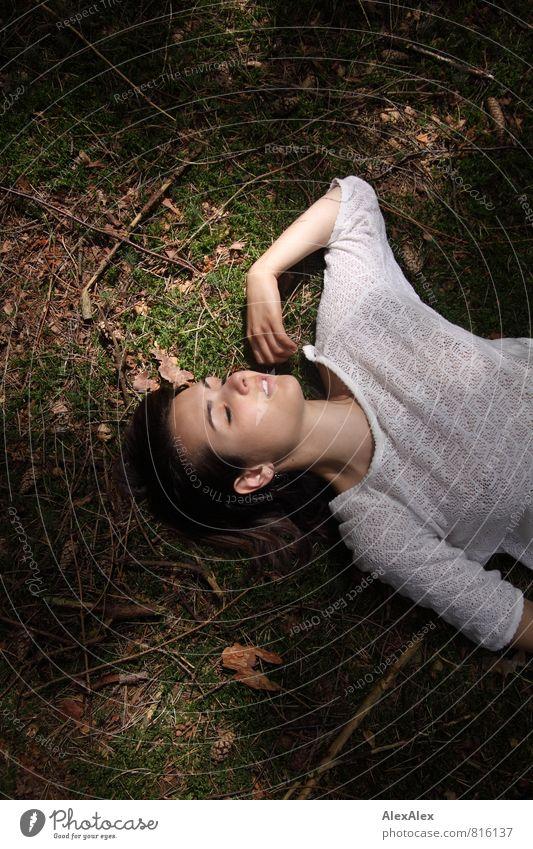 Dornröschenschlaf Natur Jugendliche schön Erholung Junge Frau 18-30 Jahre Wald Erwachsene feminin träumen liegen authentisch ästhetisch Ausflug Ast schlafen