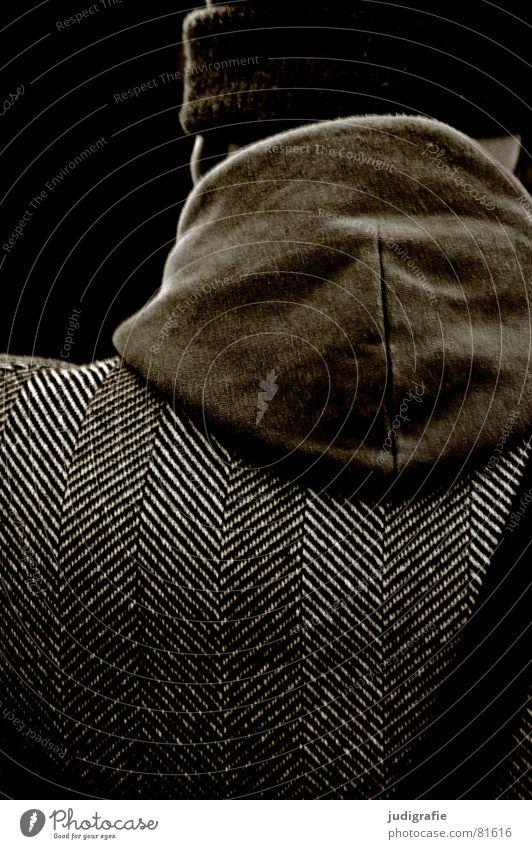 Rückseitige Strukturen Mensch Mann Winter ruhig dunkel kalt Herbst Kopf Wärme warten maskulin Rücken Bekleidung Ohr Physik beobachten