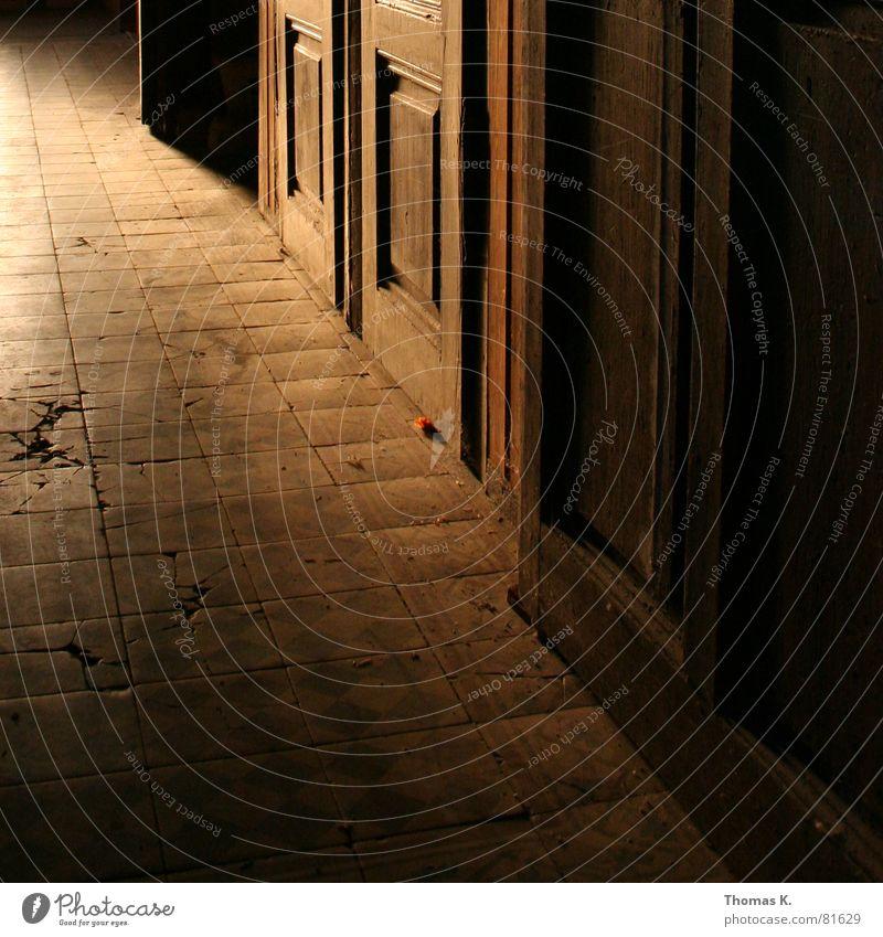 Von Fluchten und Fliesen Flur Raum Bodenbelag Physik Muster dunkel Fliesen u. Kacheln Eingang Bodenplatten Tor Türflügel Sanieren Griff Durchgang Türknauf alt