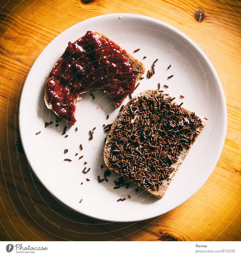 frühstück(sbiss) rot Gesunde Ernährung Holz Essen Gesundheit braun Lebensmittel Frucht genießen Fitness süß Teile u. Stücke Geschirr Frühstück Brot