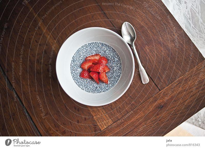chia pudding Lebensmittel Frucht Dessert Erdbeeren Ernährung Frühstück Bioprodukte Vegetarische Ernährung Schalen & Schüsseln Löffel Gesunde Ernährung frisch