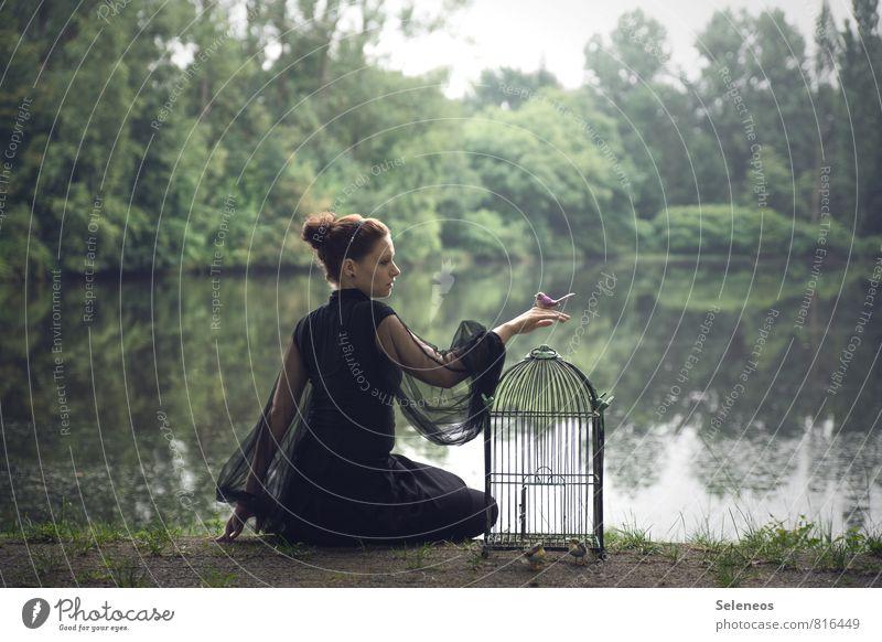 let go Freiheit Mensch feminin Frau Erwachsene 1 Frühling Seeufer Flussufer Teich Vogelkäfig frei Abschied Farbfoto Ganzkörperaufnahme