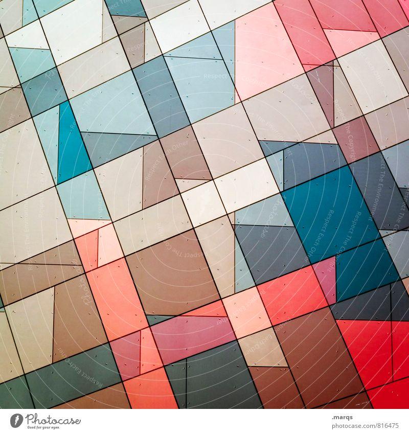 Individuell Stil Design Fassade Linie Mosaik ästhetisch eckig trendy einzigartig modern verrückt blau braun rot Farbe Ordnung Irritation Doppelbelichtung