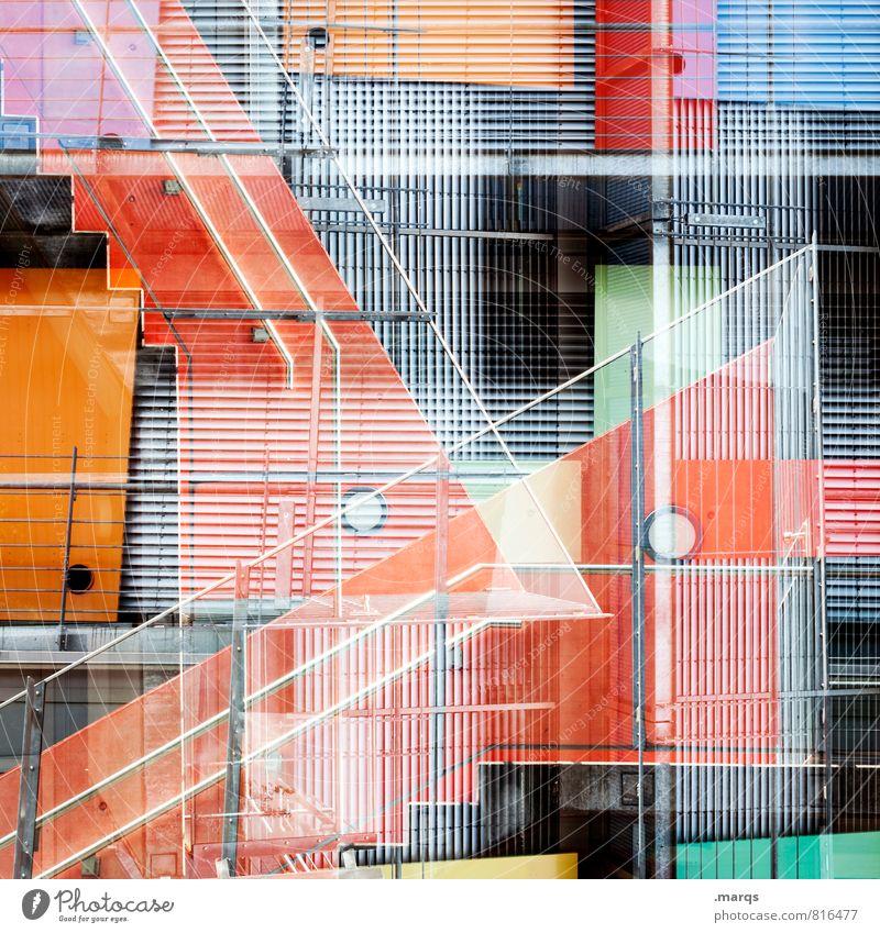 Feuertreppe Farbe Fenster Architektur Gebäude Stil Linie Metall Fassade Treppe elegant Design modern Perspektive verrückt einzigartig Kunststoff