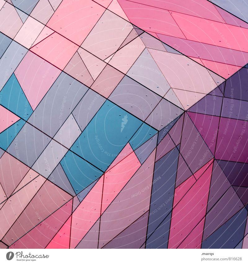 Cube blau Farbe Wand Stil Mauer außergewöhnlich Fassade Linie Design rosa elegant modern Ordnung einzigartig Coolness Streifen