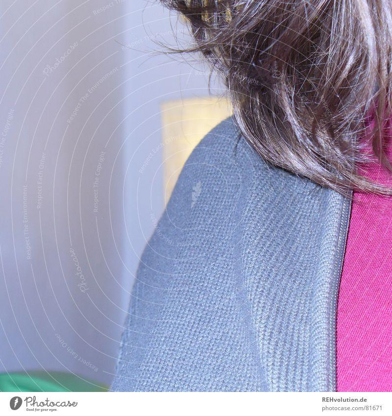 bestätigt?? gestrickt Feinripp Reißverschluss Pullover Strickjacke braun rot T-Shirt Lampe Schulter krause Haare sweatshirt aussschnitt spliss Haare & Frisuren
