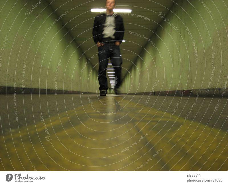 you've come a long way, baby! grün Nacht Fußgänger Tunnel Bewegungsunschärfe modern Verkehrswege Einsamkeit Zürich Wege & Pfade Graffiti