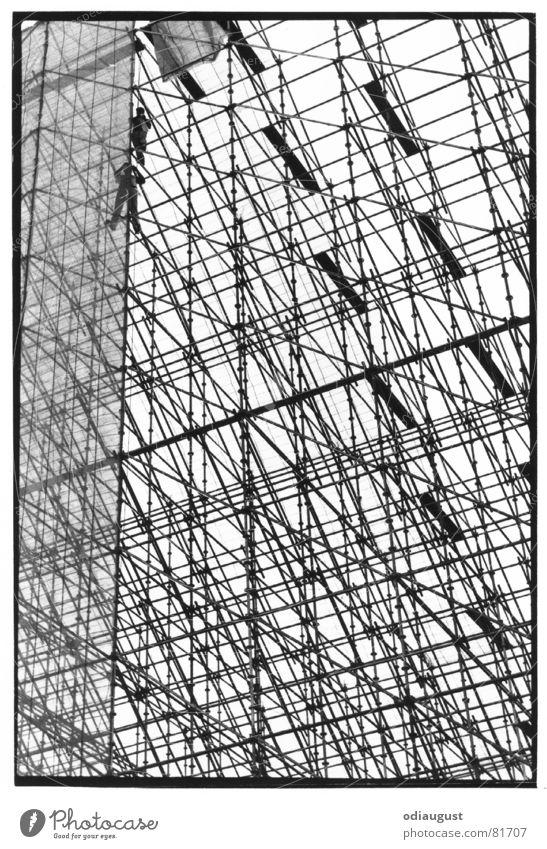 hoch hinaus Mensch Himmel Berlin oben Architektur Baustelle Baugerüst Hochbau