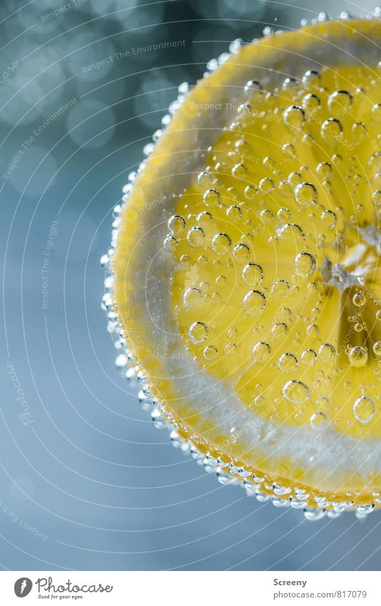 Erfrischend Lebensmittel Frucht Zitrone Ernährung Getränk Erfrischungsgetränk Trinkwasser Flüssigkeit sauer blau gelb Kohlensäure Blase sprudelnd Unschärfe