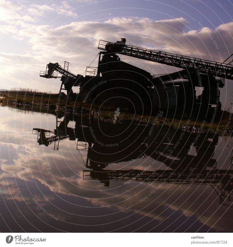 Monsterkatze vor Himmel Wasser Arbeit & Erwerbstätigkeit verrückt Industriefotografie Baustelle Schnur diagonal Pfütze Symmetrie Neigung Förderband Subvention