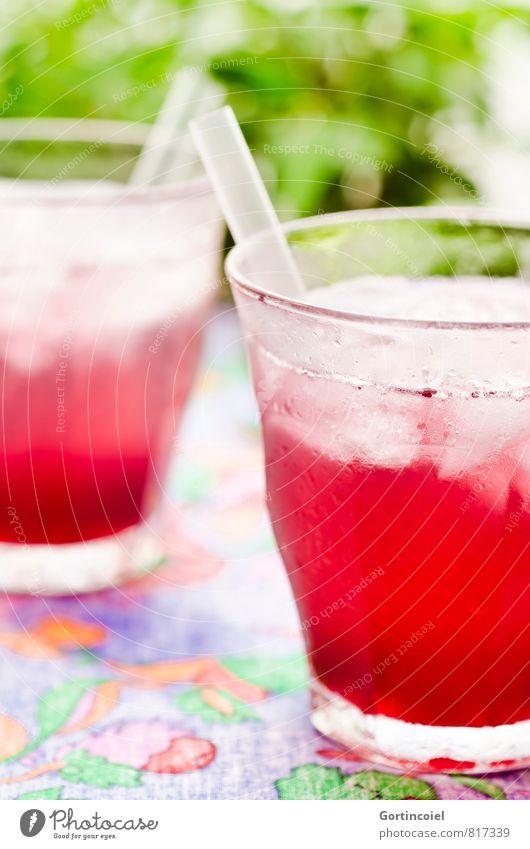 Cool rot kalt Party Glas frisch Trinkwasser Ernährung Getränk süß lecker Erfrischung Cocktail Erfrischungsgetränk Saft Trinkhalm Limonade