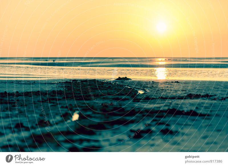 Nordseeromantik Natur Ferien & Urlaub & Reisen Sommer Sonne Meer Erholung Landschaft ruhig Strand Küste Schwimmen & Baden Horizont orange Tourismus