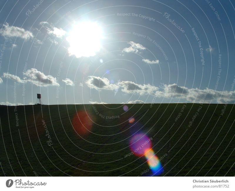 Sonnige Zeiten II oder Jäger-Romantik II Jagd Horizont Wolken Hochsitz Freude Sonne Himmel Landschaft