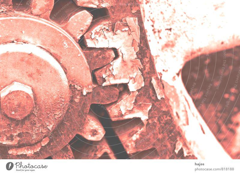 Zahnräder im VSCO Retrostil Werkzeug Maschine Getriebe Museum Rost alt historisch kaputt retro rosa Nostalgie Vergangenheit Zahnrad Filter altehrwürdig