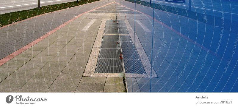 strasse_01 blau Stadt Haus Straße Stein Wege & Pfade Glas Ziel Asphalt Pfeil Bürgersteig Verkehrswege Straßenbelag Hannover Zugang Fahrradweg