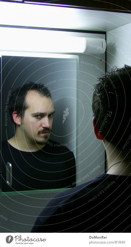 Meine Fresse! Mann Jugendliche schwarz dunkel Kopf Traurigkeit Gesicht Denken Erwachsene trist Wut Bart Neonlicht Ärger ernst Zweifel