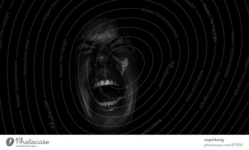 Scream beherrschen Innere Kraft Mann Porträt Bart Angsthase Freude Mensch Wachsamkeit Lautstärke Aggression kopflos herrschaftlich fokussieren Sorge Panik