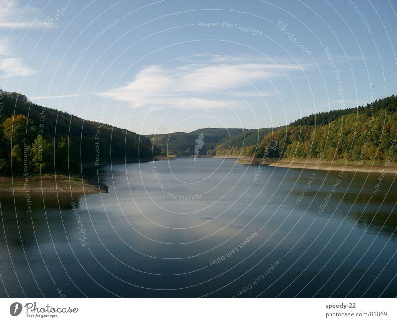Oleftalsperre See Eifel Wolken Seeufer Stausee Landschaft Himmel Natur Wasser