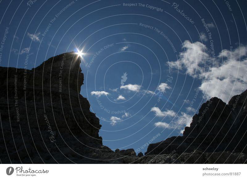 first light Himmel Sonne blau Sommer Freude Ferien & Urlaub & Reisen Wolken kalt Berge u. Gebirge Freiheit Stein Eis Feste & Feiern Stern Felsen Stern (Symbol)