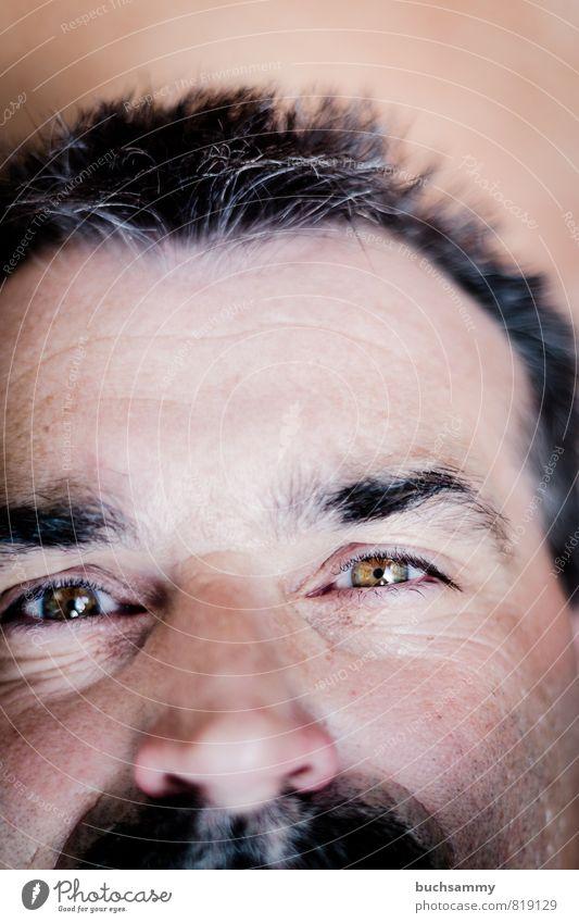 Lachende Augen Mensch maskulin Mann Erwachsene Bart 1 30-45 Jahre Haare & Frisuren schwarzhaarig grauhaarig Oberlippenbart alt lachen Freundlichkeit