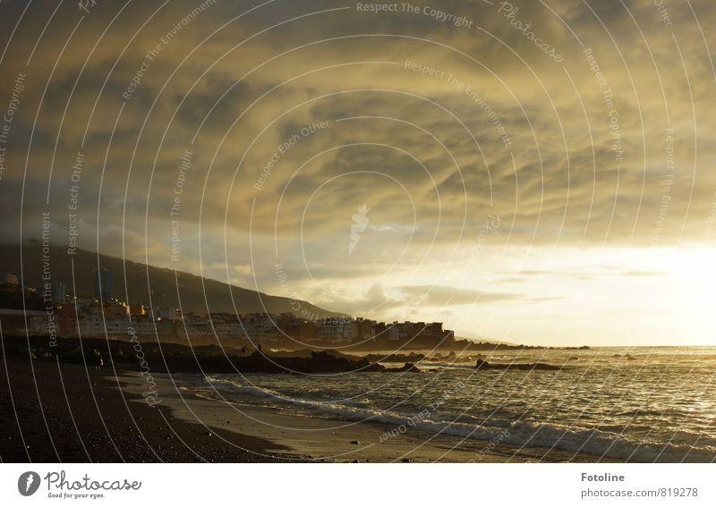 goldener Abend Umwelt Natur Landschaft Urelemente Erde Sand Wasser Himmel Wolken Gewitterwolken Sonnenaufgang Sonnenuntergang Sonnenlicht Sommer Wellen Küste