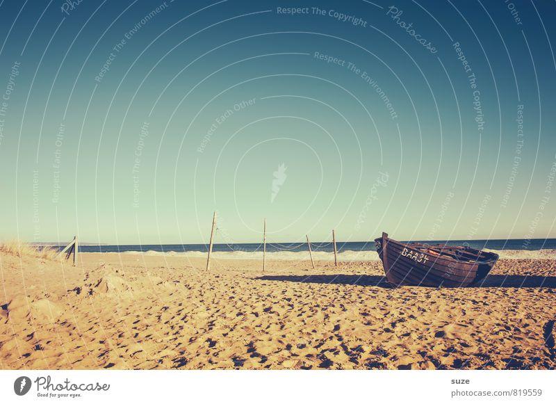 Mit dem fahr´n wa übern Jordan ... Himmel Ferien & Urlaub & Reisen alt Wasser Meer Erholung Einsamkeit ruhig Strand Umwelt Küste Freiheit Sand Stimmung Wasserfahrzeug Horizont