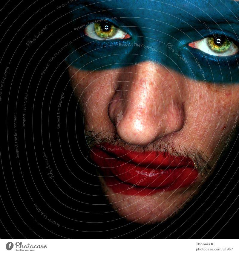 Diese® Herr malt keine Bilder Mensch Frau Mann schön Farbe schwarz Auge lustig außergewöhnlich Nase kaputt Lippen skurril Schminke Momentaufnahme obskur