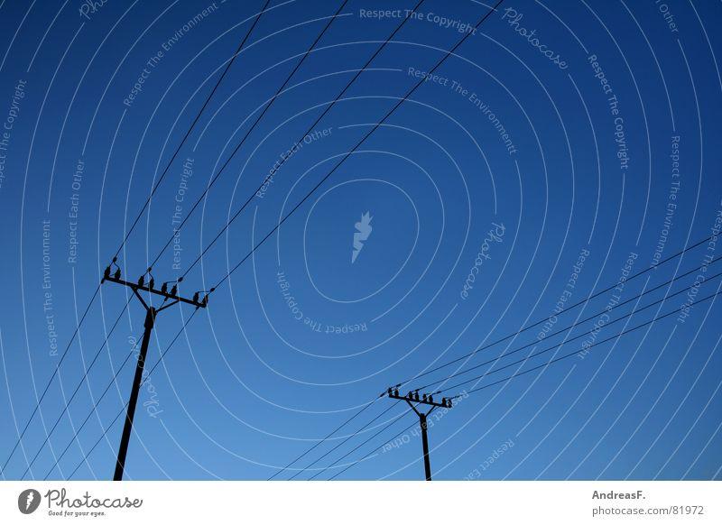 SkyLines Himmel blau Wolken Kraft Industrie Energiewirtschaft Elektrizität Kabel Netz führen Strommast Leitung elektronisch Stromkraftwerke Hochspannungsleitung